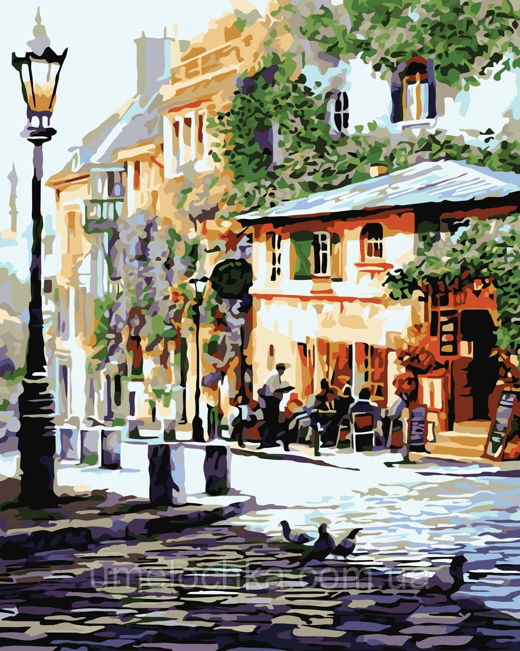 Картина раскраска по номерам без коробки Идейка Италия Летнее кафе Худ Ричард Макнейл (KHO2150) 40 х 50 см