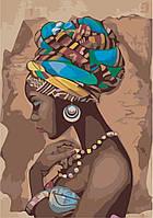 Картина раскраска по номерам без коробки Идейка Красота в стиле этно (KHO2625) 35 х 50 см