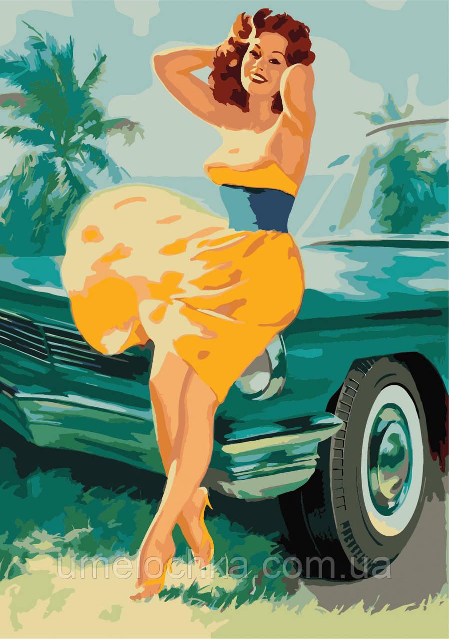 Картина по номерам без коробки Идейка Девушка в стиле ретро Худ Билл Метклаф (KHO2652) 35 х 50 см