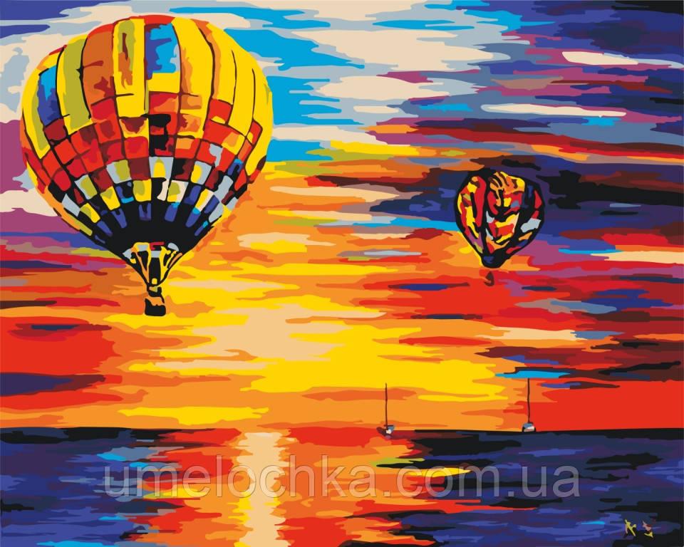 Холст по номерам без коробки Идейка Воздушные шары на закате худ Афремов Леонид (KHO2820) 40 х 50 см
