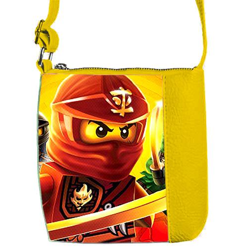 Желтая детская сумка для мальчика с принтом Ниндзяго