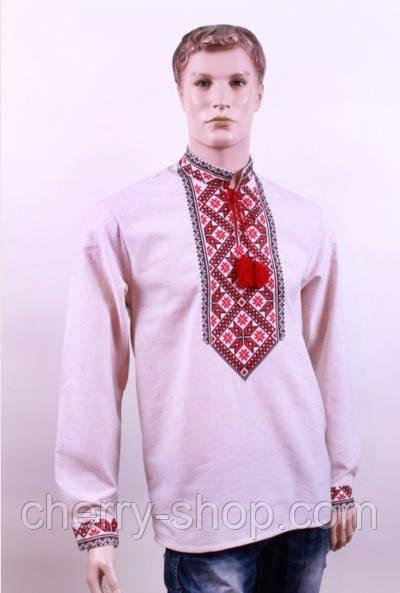 Мужская вышиванка с натурального лена   Чоловіча вишиванка з натурального  льону - Интернет-магазин