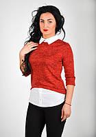 Женская кофта - обманка с рубашечным воротником