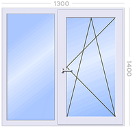 Окно металлопластиковое двустворчатое STEKO