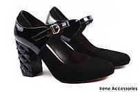 2b624f219 Стильные туфли Aquamarin женские натуральный лак + замш, цвет черный (каблук,  комфорт,