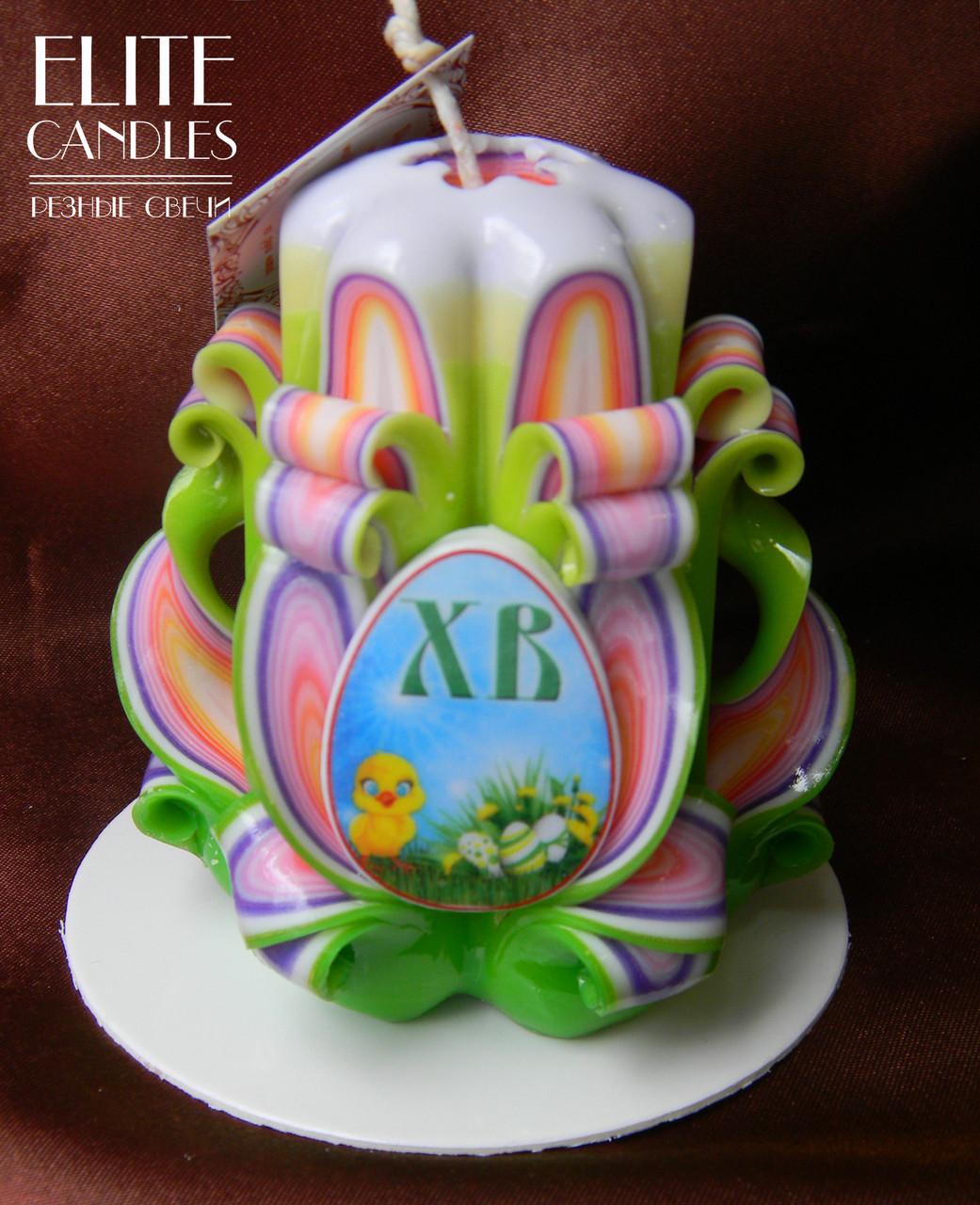 Великодня свічка з табличкою, ручна робота, стильний дизайн