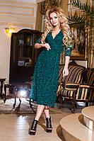 Модное батальное зеленое гипюровое платье.  Арт-2199/57