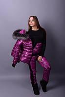 Женский зимний костюм-тройка с мехом (размеры от 38 до 82)  н-78005