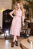 Модное батальное розовое  гипюровое платье.  Арт-2199/57