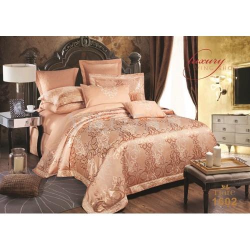 Элитный комлект постельного белья сатин жаккард Tiare евро 1602
