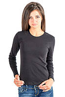 Черная футболка с длинным рукавом женская без рисунка тонкая хлопок трикотажная (Украина)