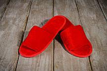 Тапочки гостевые EURO TEXTILE велюровые (открытый мыс) красные для дома, офиса, гостиниц и SPA