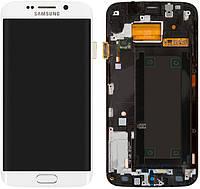 Дисплей (экран) для телефона Samsung Galaxy S6 EDGE G925F + Touchscreen with frame Original White