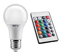 Светодиодная RGB-лампа с цоколем E27 GTV LED 8Вт с пультом ДУ