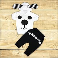 Детский летний костюм р. 86-92 для мальчика тонкий ткань КУЛИР 100% хлопок 3483 Белый 86