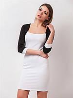 Платье повседневное белого цвета с имитацией болеро