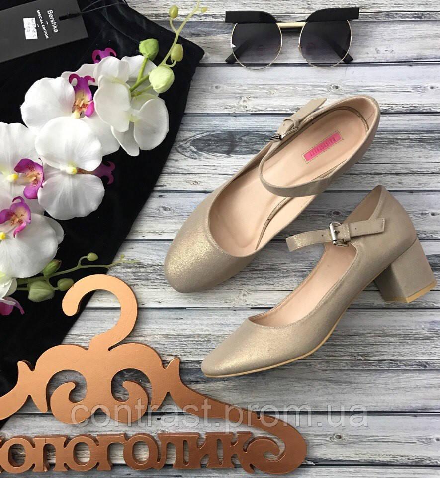 Нарядные туфли «Мери Джейн» удобного фасона из мерцающего текстиля  SH11101
