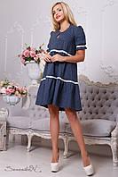 Платье свободного кроя, из бенгалина , лето, 42-48 размер