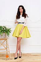 Нарядное женское платье, юбка расклешенная материал неопрен, верх кружевной. Цвет желтый