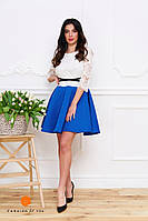Нарядное женское платье, юбка расклешенная материал неопрен, верх кружевной. Цвет синий