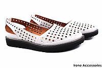 d41c7c1e0a30 Туфли летние комфорт Ripka женские натуральная кожа, цвет белый (платформа,  перфорация, Турция