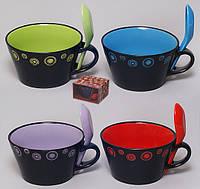Кружка-бульонница керамическая 550мл с ложкой с цветной серединой, 4 вида