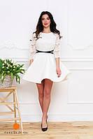 Нарядное женское платье, юбка расклешенная материал неопрен, верх кружевной. Цвет белый