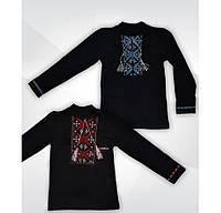 Вышиванка на мальчика, черный цвет, длинный рукав