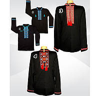 Вышиванка на мужчину, черній цвет, длинный  рукав,интерлок