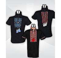 Вышиванка на мальчика, черный  цвет, короткий  рукав,интерлок