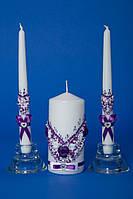 Набор свечей семейный очаг  фиолетовые