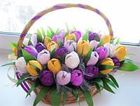 """Корзина конфетных тюльпанов """"Весна пришла"""""""