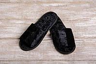 Тапочки гостевые EURO TEXTILE велюровые (открытый мыс) черные для дома, офиса, гостиниц и SPA