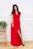 Нарядное женское кружевное платье в комплекте с длинной шифоновой юбкой (съемной). Красный цвет