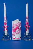 """Набор свадебные свечей """"семейный очаг"""" розовый"""