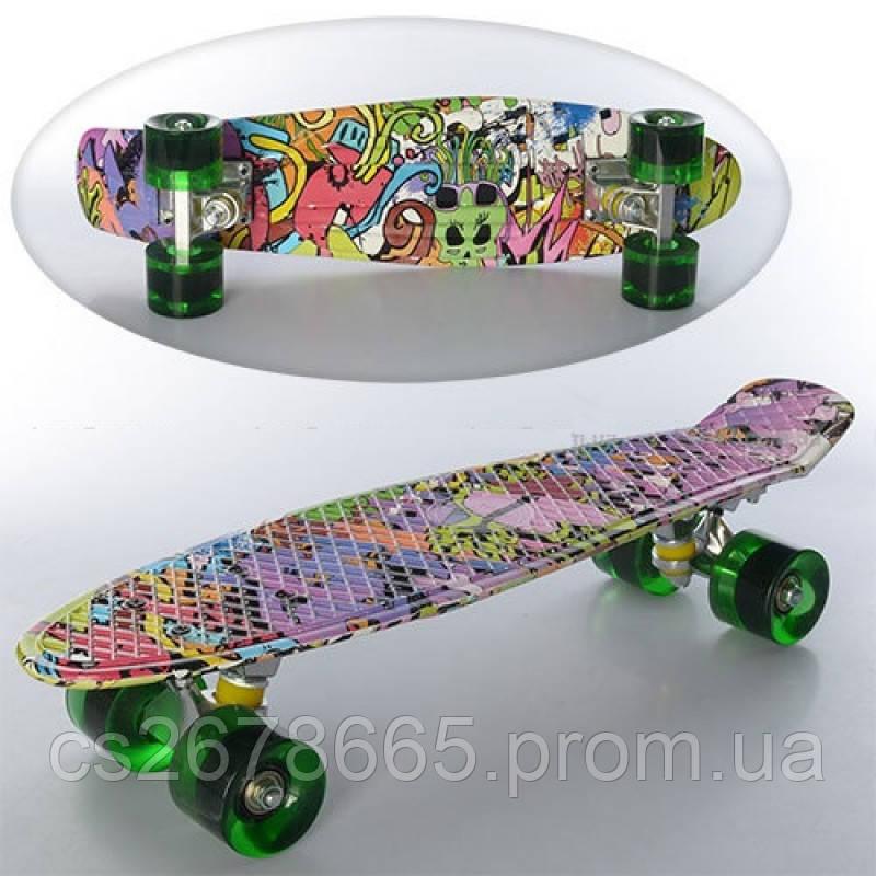 Скейт MS 0748-1 пенни, алюминиевое крепление, полиуретановые колеса