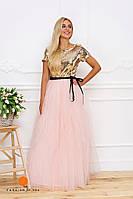 Нарядное женское платье верх пайетки и красивая объемная фатиновая юбка
