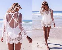 Женская туника пляжная ажурная белая и черная