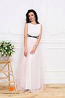 Нарядное женское платье верх кружево и красивая объемная фатиновая юбка, низ микромасло