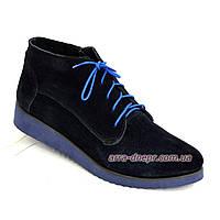 Стильные женские ботинки из натуральной замши синего цвета, на плоской подошве.  37 размер