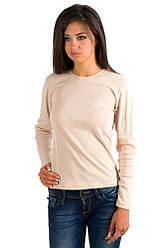 Футболка з довгим рукавом жіноча без малюнка бежева трикотажна бавовна