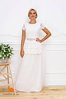 Нарядное женское платье кружево поверх фатиновой юбки, низ микромасло