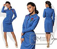 Платье-рубашка  приталенное из стрейч-льна с резинкой на талии размер 42-46