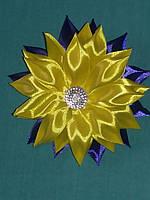 Заколка цветок желто синий