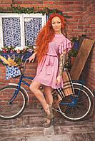 Короткое платье из евро шифона в горошек