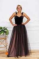 Нарядное женское платье на бретелях, верх материал бархат и красивая объемная фатиновая юбка