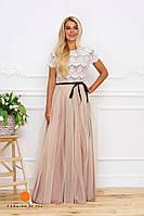 Нарядное женское платье с коротким рукавом, верх кружево и красивая фатиновая юбка