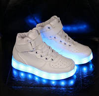 Светящиеся Кроссовки Led Светящаяся Подошва Ботинки Белые