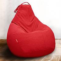 Кресло-мешок груша/ Микро-рогожка/ Красное/Средний размер/Основной чехол