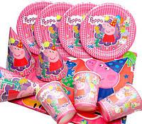 """Набор для детского Дня Рождения """" Свинка Пеппа"""" Тарелки -10 шт. Стаканчики - 10 шт. Колпачки - 10 шт. ,скатерт"""